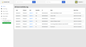 Smarter Inventory software activity log sample